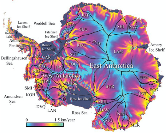Antarctic glacier mass balance changes of flow rate