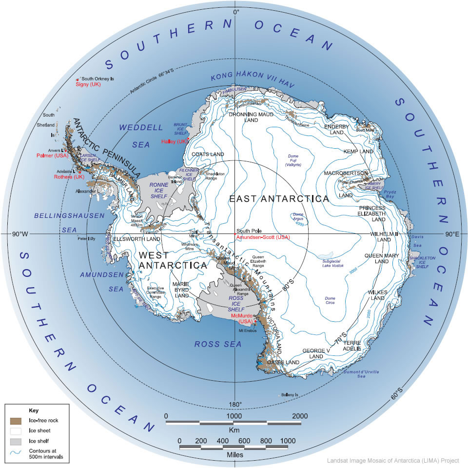 Antarctic Glacier distribution map