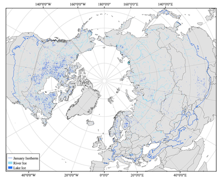 Freshwater ice distribution for lakes (dark blue) and rivers (light blue) in the circumpolar Arctic