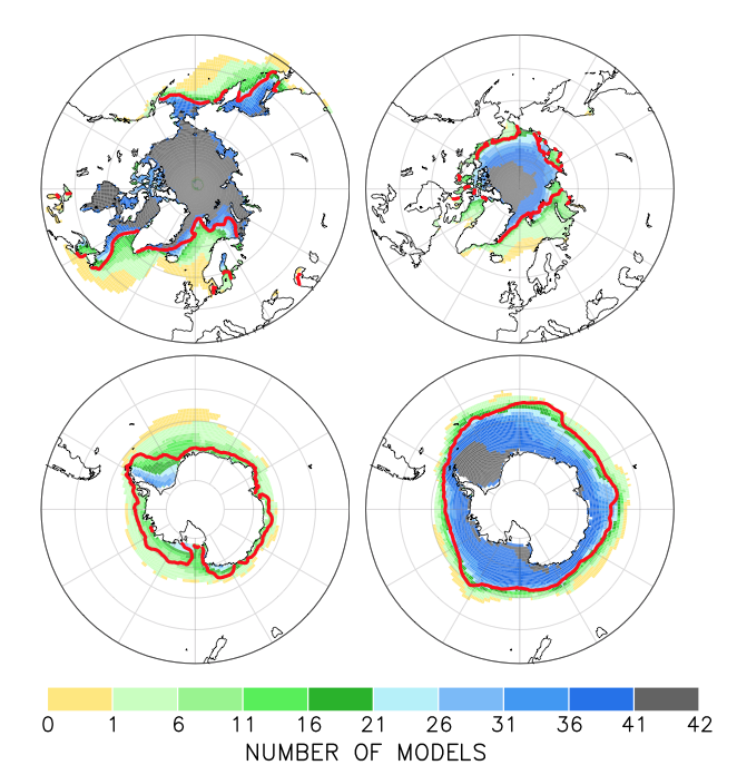CIMP5 model simulated sea ice distribution in the Northern Hemisphere (September) and Southern Hemisphere (February)