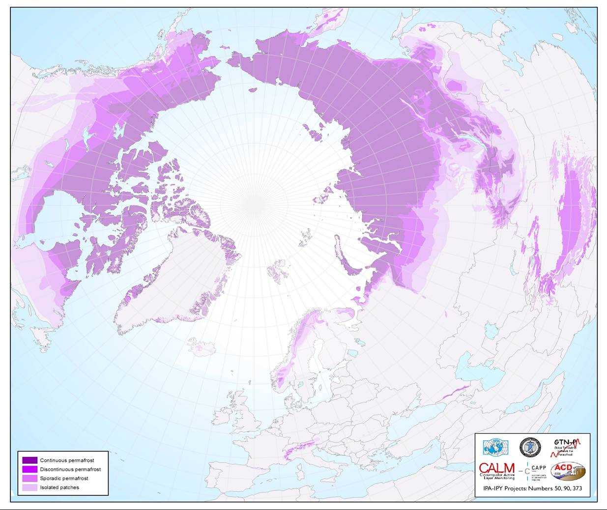 Map showing which parts of the world have permafrost