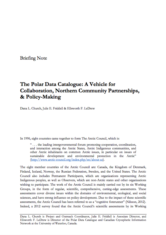 The Polar Data Catalogue: A Vehicle for Collaboration, Northern Community Partnerships, & Policy-Making 