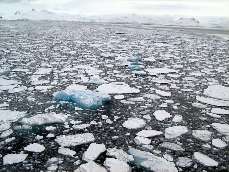 Broken ice in the ocean surrounding Antarctica