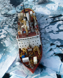 CCGS Amundsen breaking sea ice